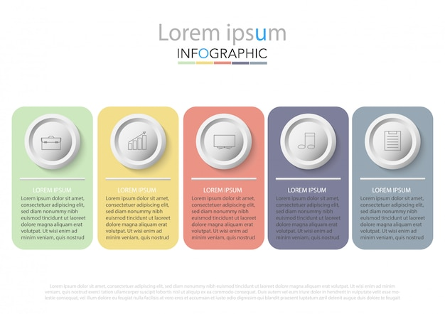 Cinq éléments rectangulaires colorés, pictogrammes en traits fins, pointeurs et zones de texte