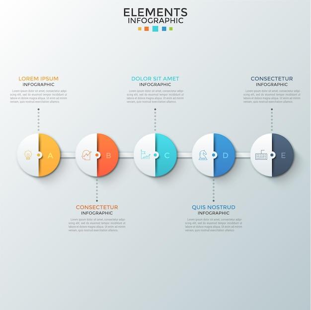 Cinq éléments ronds en papier demi-coloré avec des lettres et des icônes linéaires à l'intérieur disposés en rangée horizontale et connectés. concept de processus en 5 étapes. modèle de conception infographique.