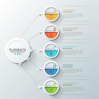 Cinq éléments ronds avec des symboles linéaires et des lettres à l'intérieur connectés au cercle blanc du papier principal. concept de 5 fonctionnalités commerciales ou options au choix. modèle de conception infographique.