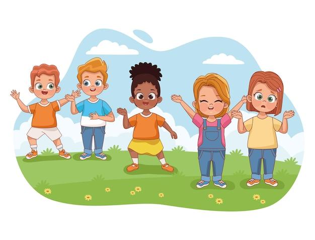 Cinq enfants dans l'herbe