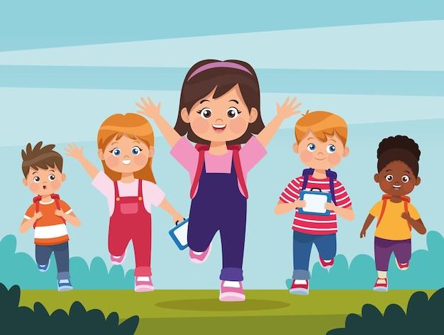 Cinq enfants qui courent