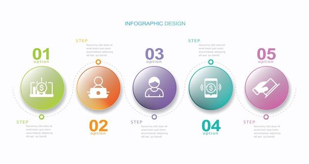 Cinq étapes cercle progrès infographie conception stock illustration cinq objets numéro 5 infographie