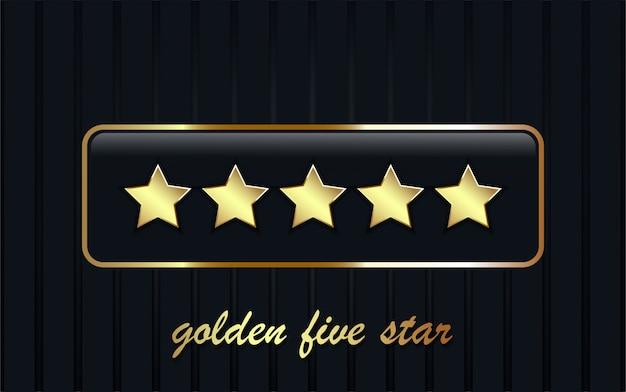 Cinq étoiles dorées sur rectangle brillant.