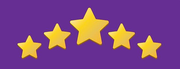 Cinq étoiles sur fond violet évaluation de la notation des étoiles