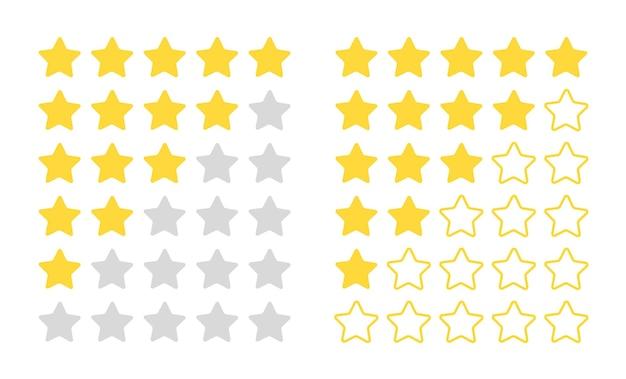 Cinq étoiles. objets de qualité évalués modernes pour la barre de commentaires, concept plat d'examen vectoriel