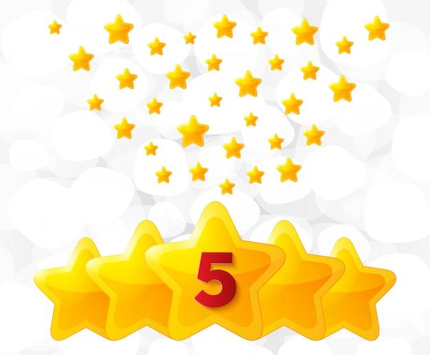 Cinq étoiles d'or.