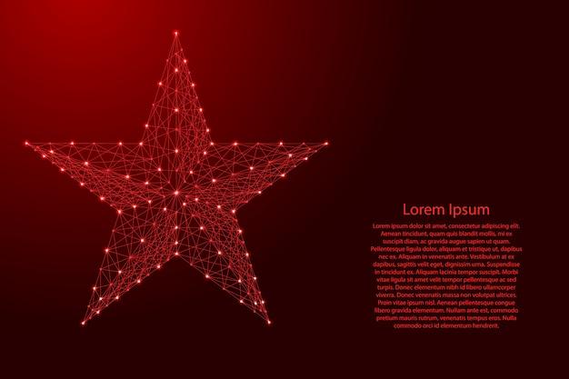 Cinq étoiles pointées à partir de lignes rouges polygonales futuristes et d'étoiles brillantes pour bannière, affiche, carte de voeux.