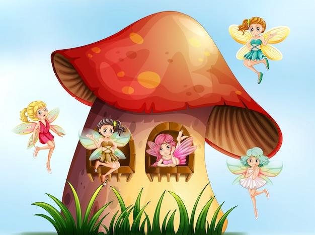 Cinq fées volant dans un jardin de champignons