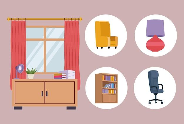 Cinq icônes de bureau de meubles