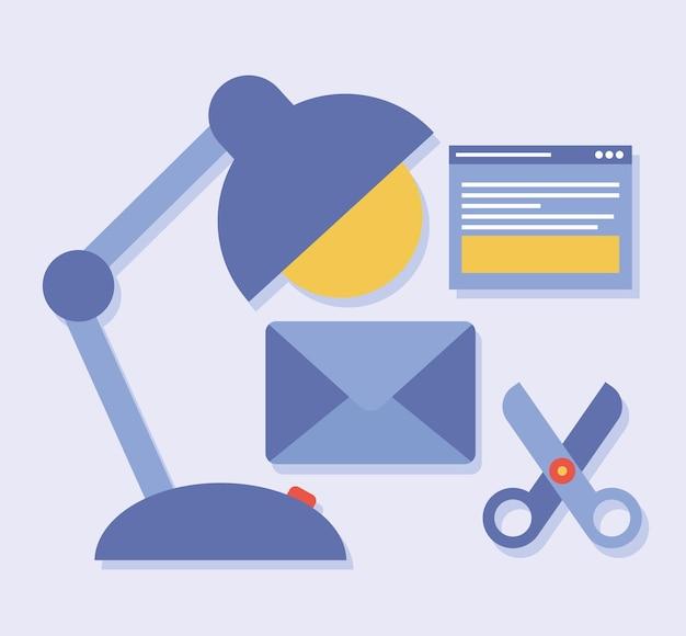 Cinq icônes de conception de sites web