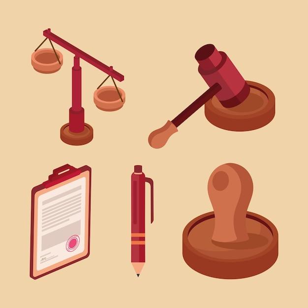 Cinq icônes de conseils juridiques