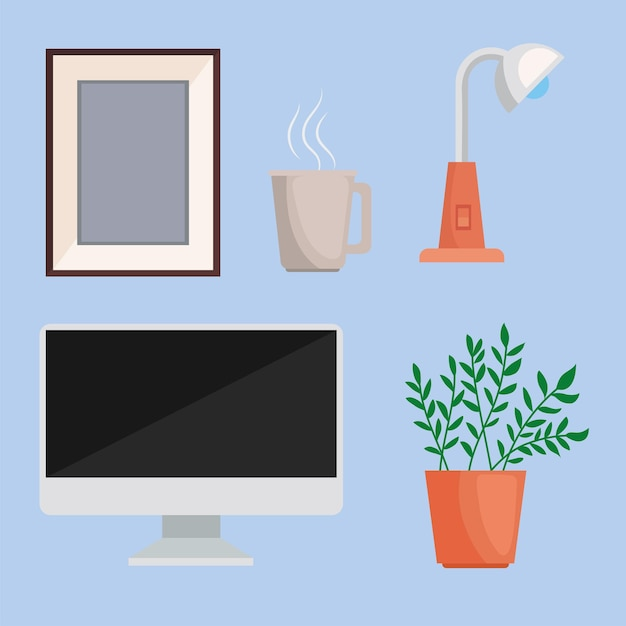 Cinq icônes d'espaces d'accueil