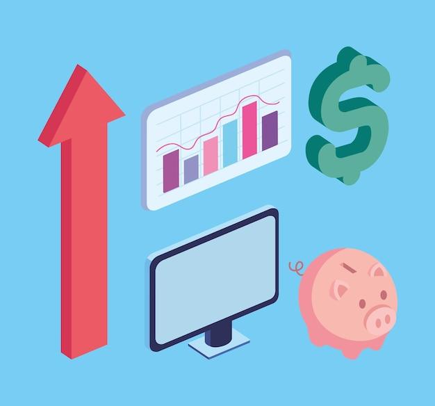 Cinq icônes financières d'actions