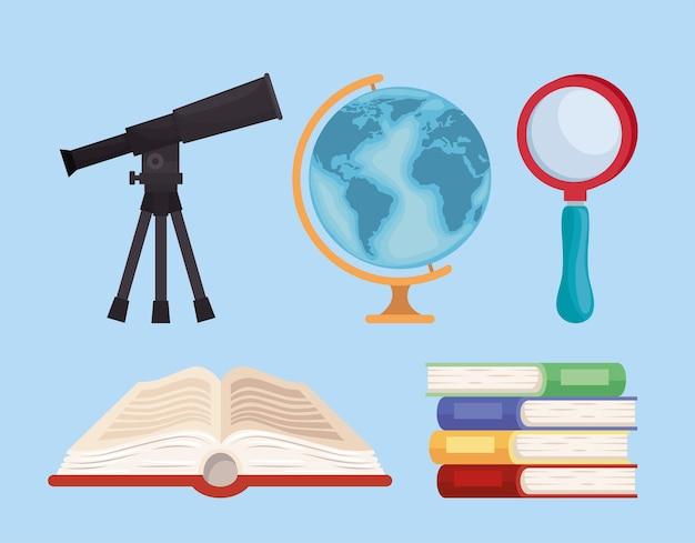 Cinq icônes de fournitures de géographie