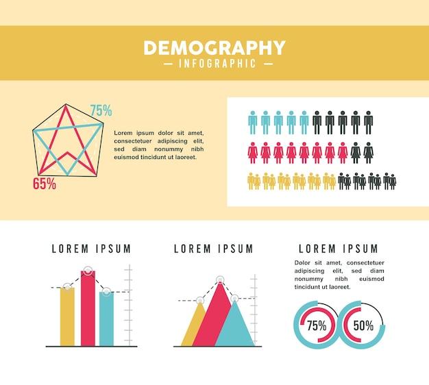 Cinq icônes d'infographie de la démographie