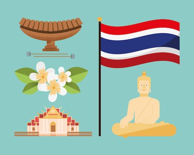 Cinq icônes de pays de la thaïlande