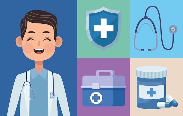 Cinq icônes de soins médicaux