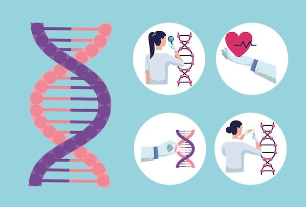 Cinq icônes de tests génétiques