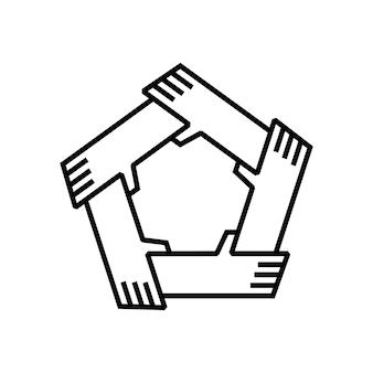 Cinq mains tenant la technologie d'autres unités de travail d'équipe ensemble logo