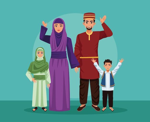 Cinq parents de la famille arabe