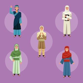 Cinq personnages de femmes musulmanes