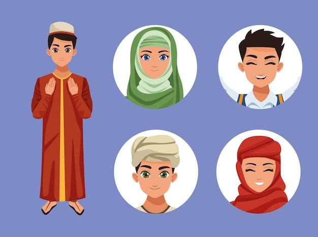 Cinq personnages musulmans
