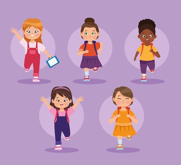 Cinq personnages de petites filles