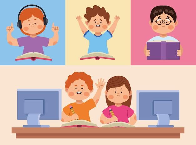 Cinq personnages de petits étudiants