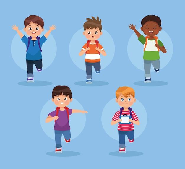 Cinq personnages de petits garçons