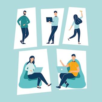 Cinq personnages de travailleurs de personnes productives