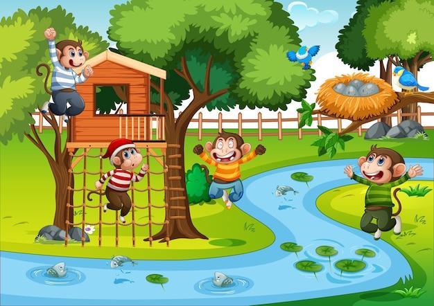 Cinq petits singes sautant dans la scène du parc