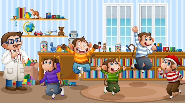 Cinq petits singes sautant dans la scène de la pièce avec un médecin