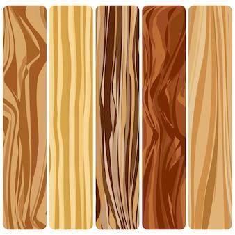 Cinq planches de bois. texture bois abstraite de vecteur au design plat.