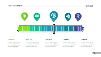 Cinq pointeurs échelle modèle de tableau de processus de métaphore pour la présentation.