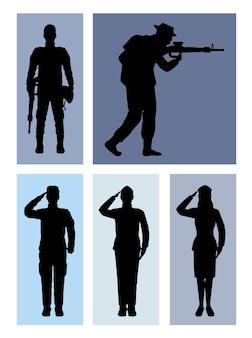 Cinq silhouettes d'escouade militaire