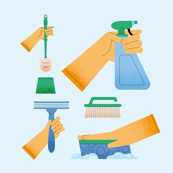 Cinq tendant aux icônes de ménage