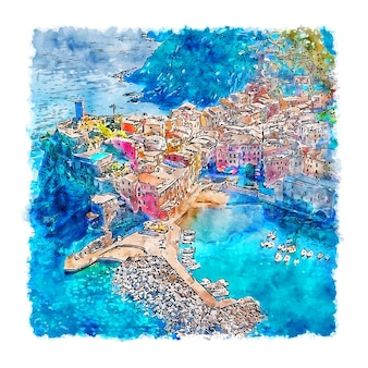 Cinque terre italie aquarelle croquis illustration dessinée à la main
