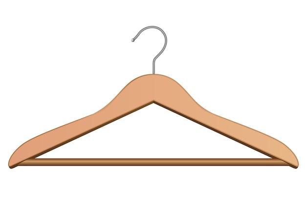 Cintre en bois pour les vêtements. isolé sur blanc