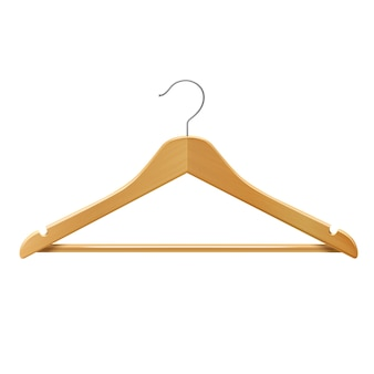 Cintre en bois pour vêtements pantalons isolé 3d illustration vectorielle