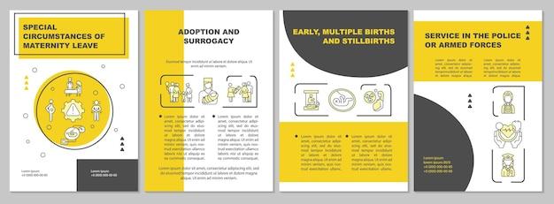 Circonstances particulières du modèle de brochure jaune sur le congé de maternité. flyer, brochure, dépliant imprimé, conception de la couverture avec des icônes linéaires. dispositions vectorielles pour la présentation, les rapports annuels, les pages de publicité