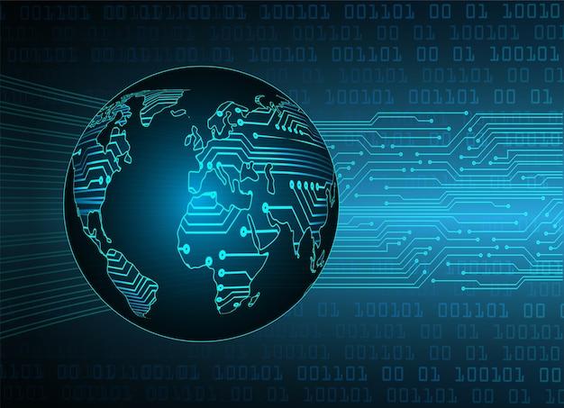 Circuit binaire mondial de la technologie future, fond de concept de cybersécurité hud bleu