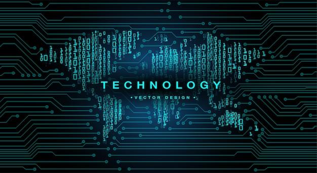 Circuit imprimé binaire mondial technologie future concept de cybersécurité hud bleu