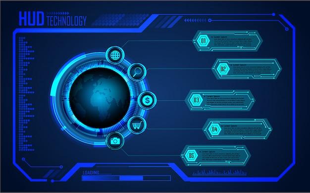 Circuit imprimé binaire, technologie future, fond de concept de cybersécurité blue world hud,