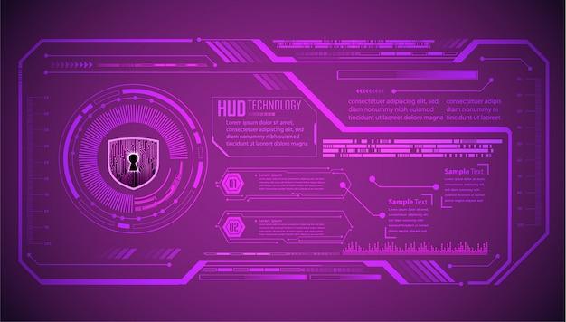 Circuit imprimé binaire technologie future, fond de cybersécurité violet hud,