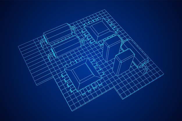 Circuit imprimé composants électroniques de l'ordinateur carte mère wireframe low poly vector illustration