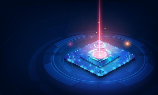 Circuit imprimé de fond de processeur de puce de technologie abstraite