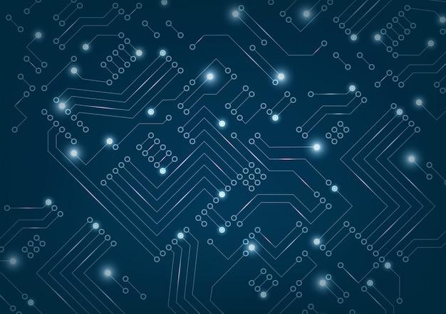 Circuit imprimé futuriste abstrait sur fond bleu foncé.