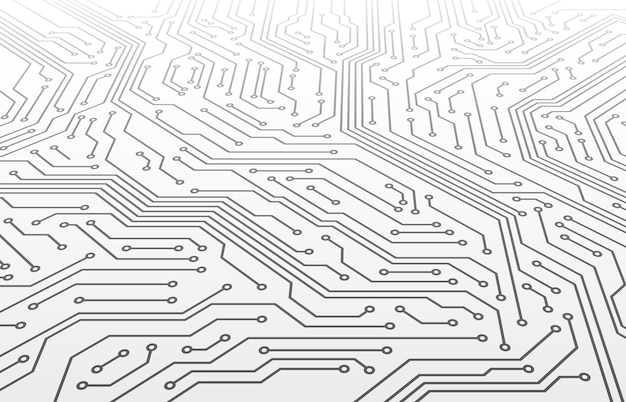 Circuit imprimé. schéma de la carte mère en perspective, technologie informatique à puce numérique abstraite texture vectorielle 3d. technologie de processeur électronique, illustration de l'élément informatique intégré