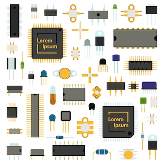 Circuit informatique puces icônes technologie illustration vectorielle définie.
