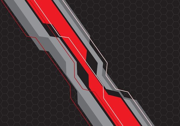 Circuit de ligne grise rouge sur fond de maille hexagonale.